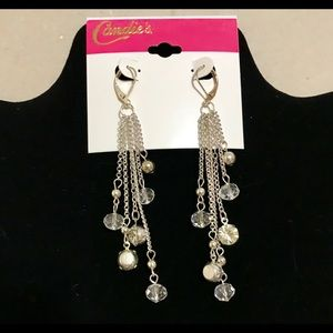 """Candie's"" Silver/Rhinestone Fringe Earrings-ONLY"
